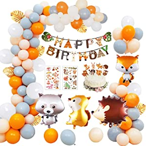 Animal Birthday Party Decorations, Squirrel Fox Hedgehog Raccoon Woodland Wild Animal Theme Party Decor Happy Birthday Banner 40PCS Latex Foil Balloon for Boy Girl Kids Baby Shower Party Supplies