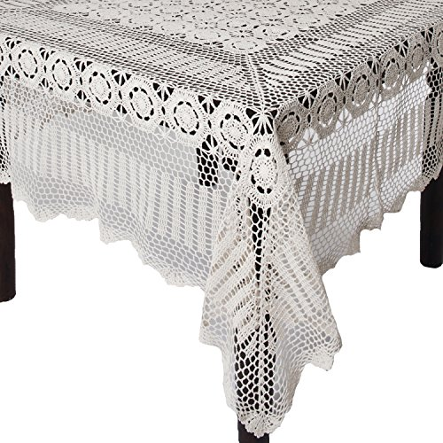SARO LIFESTYLE 869 Crochet Tablecloths, 72 by 144-Inch, Oblong, White