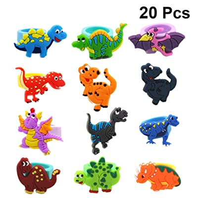 TOYANDONA 20pcs Finger Rings PVC Dinosaur Finger Puppets Decoration Dinosaur Party Favors Birthday Party Gifts for Kids Random Color: Toys & Games