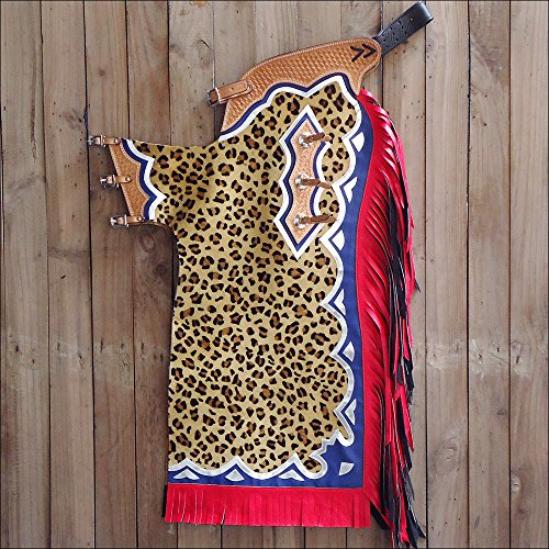 HILASON WESTERN BULL RIDING LEOPARD HAIR ON COWHIDE LEATHER PRO RODEO CHAPS - Leopard Cowhide