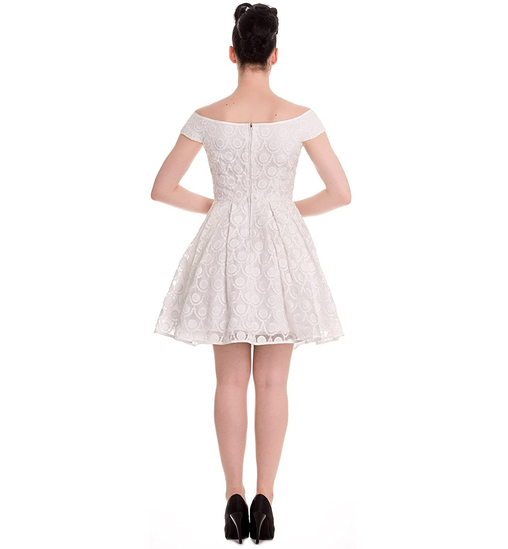 Hell Bunny 50s Pin up Party Mini Dress Paris Bardot Ivory White: Amazon.co.uk: Clothing