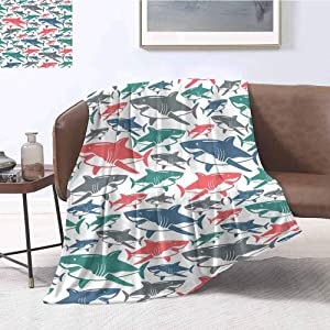 Shark Commercial Grade Printed Blanket Mix of Colorful Bull Shark Family Pattern Masters Survival Predators Dangerous Nature Queen King W70 x L84 Inch Multicolor