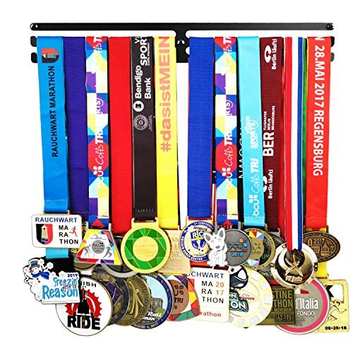 Lapetale Fashion Medal Hanger Awards Holder Display Rack for 60 Medals Use for All Sports Black Steel Medal Hanger Holder,Race Medal Display Holder,Running Medal Hangers,Hanger formedals,Black Kings