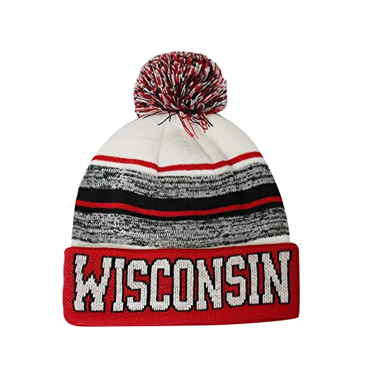 957c9aeac76 Semper Fi Wisconsin Blended Colors Men s Winter Knit Pom Beanie Hat (Red  White)