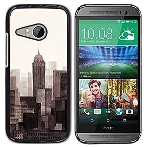 For HTC ONE MINI 2 / M8 MINI Case , Scrapers Big City View Horizon - Diseño Patrón Teléfono Caso Cubierta Case Bumper Duro Protección Case Cover Funda