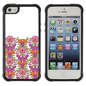 Híbridos estuche rígido plástico de protección con soporte para el Apple iPhone 5 / 5S - Pink Clean White Minimalist Girl