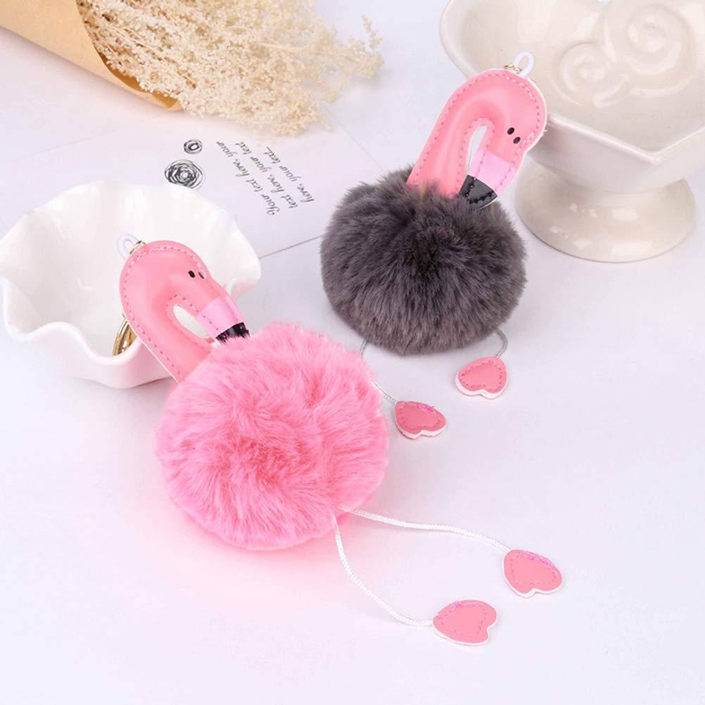 Dark Pink Cute Key Chains Flamingo Key Ring Fur Ball Pom Pom Keychain for Bag Cellphone Car Key Pendant