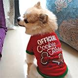 Napoo Clearance Pet Cotton T shirt,Dog Letter Print Clothing Cute Puppy Tops Costume (Red, S)