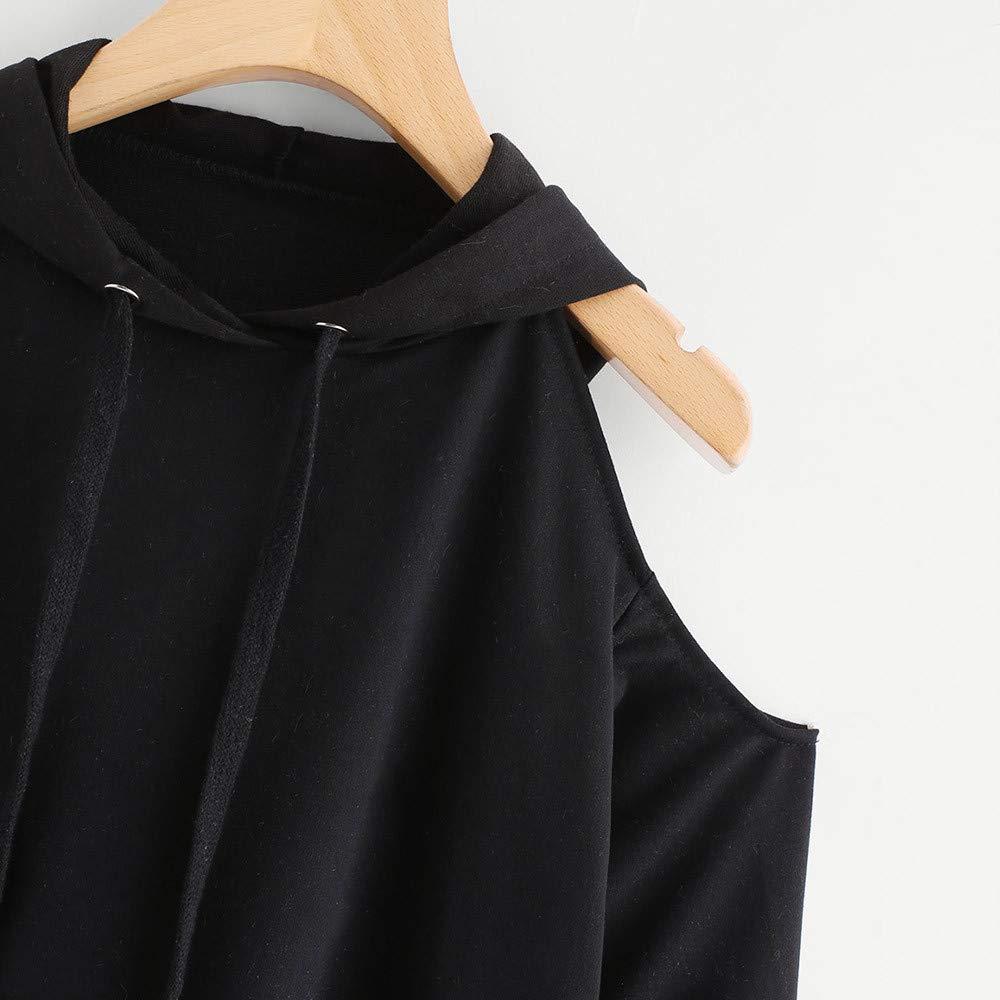 Fymia Oto/ño s/ólido de Manga Larga Casual Fuera Del hombro Con Capucha Sudadera Pullover Blusa Para Mujer