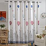 Melodieux Hot Air Balloon Light Filtering Grommet Top Curtains/Drapes for Play Room, 100 by 84 inch, Navy (1 Panel)