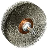 Weiler 804-17637 Stem Mounted Wide Face Crimped Wire Wheel, 3'' Diameter x 1'' Width, 0.008'' Stainless Steel, 20000 rpm