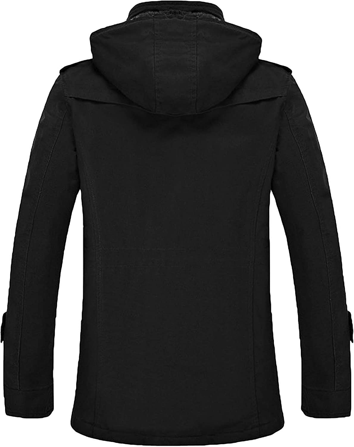 Nidicus Mens Classic Zipper Up Pea Coat with Removable Hood /& Fleece Lining