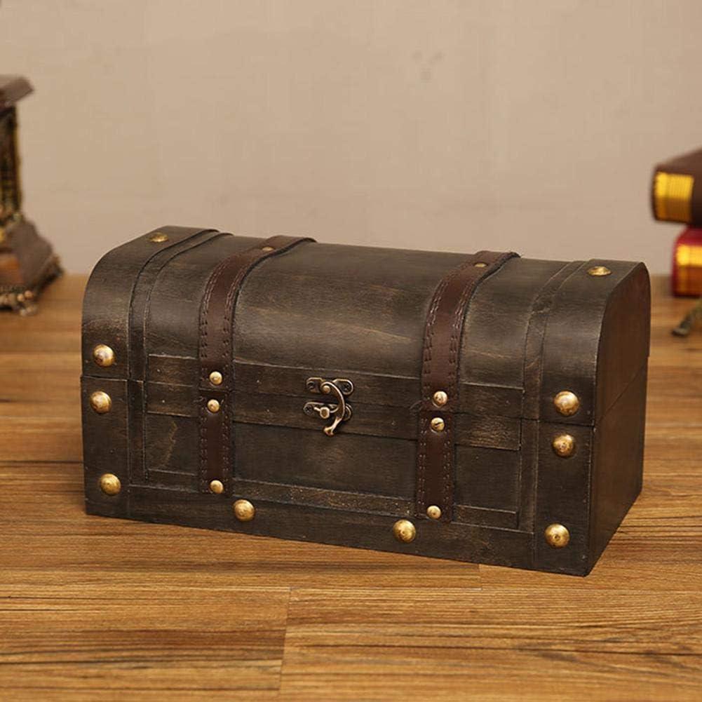 bowlder Schatztruhe Retro Holzkiste mit DeckelRotem Leder Vintage Schatzkiste Staubdicht Aufbewahrungsbox Fotografie Schie/ßrequisiten