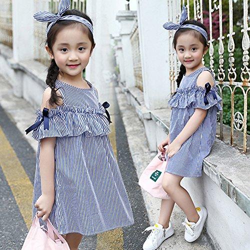 FTSUCQ Girls Off Shoulder Striped Print Dress (130(7-8Y), Blue) by Dillian Dress (Image #2)