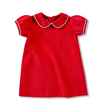 828429cb71b7 Amazon.com: Mud Pie Baby Girls Red Corduroy Dress White Piping Peter Pan  Collar: Clothing