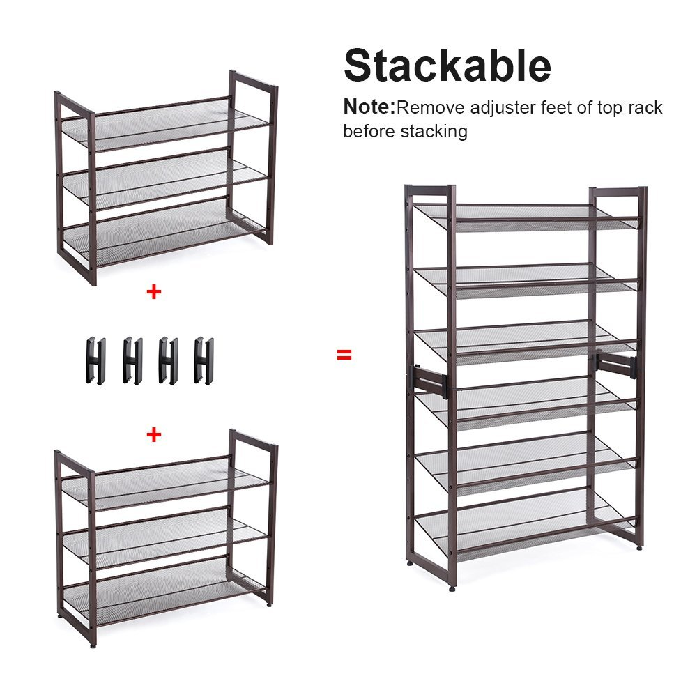 Amazon.com: SONGMICS 3-Tier Stackable Metal Shoe Rack Flat & Slant ...