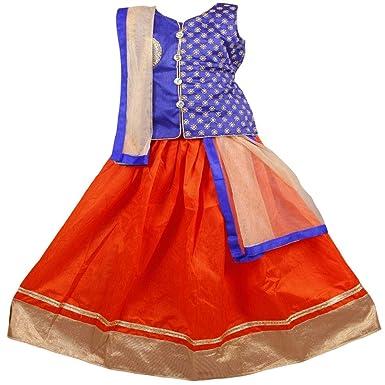 08034f936a New Creation Girls Lehenga Choli Ethnic Wear Embroidered Lehenga, Choli and  Dupatta Set (2
