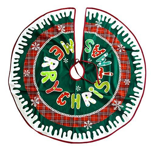 wsloftyGYd Christmas Tree Skirt Apron Stand Base Santa Letter Elk Floor Mat Home Decor 4#