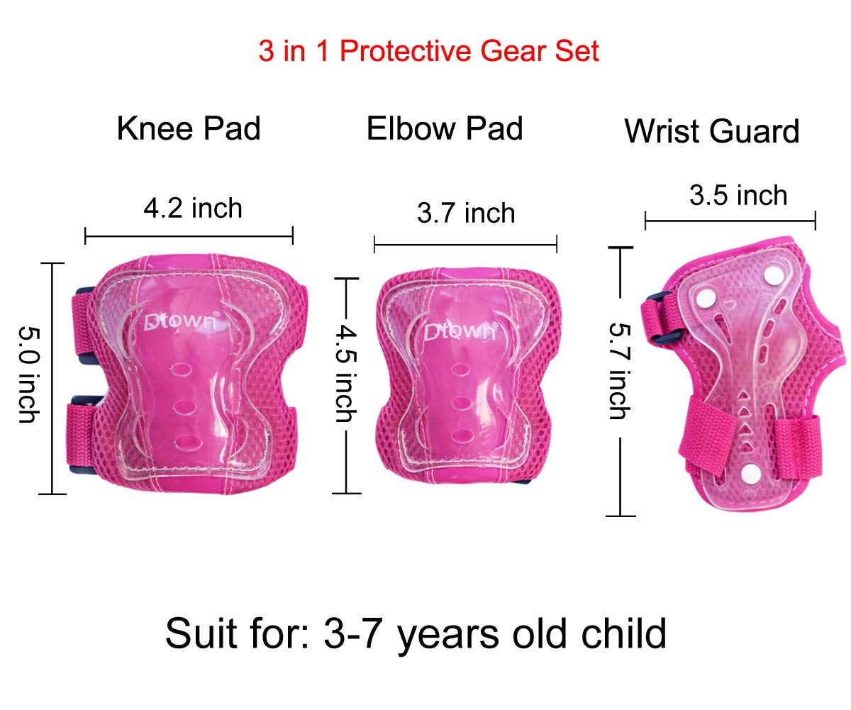 Dtown Kids Knee Pads Toddler Elbow Pads Wrist Guards 3 in 1 Protective Gear Set for Inline Roller Skates Bike Scooter