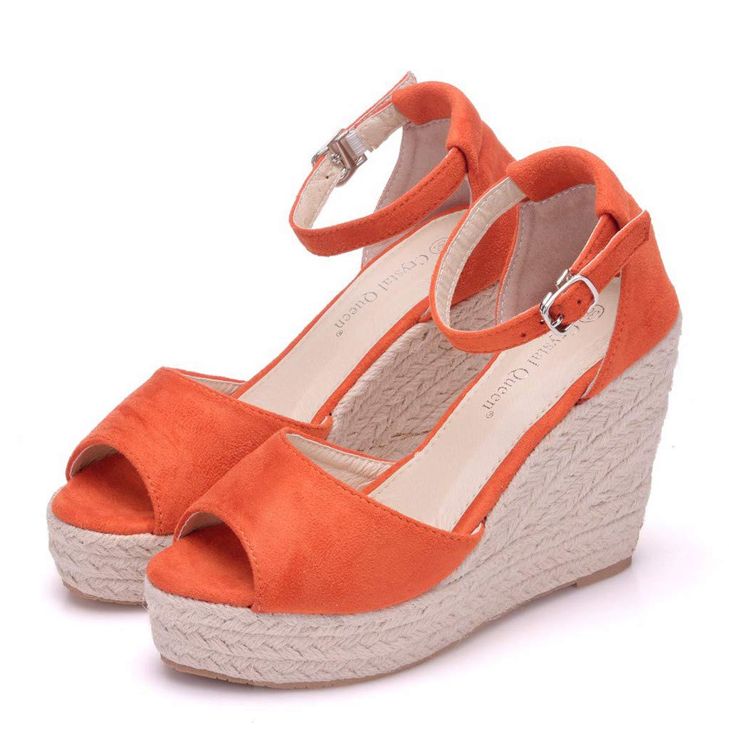 Wedge Sandals for Women,Summer Women Platform Shoes Ankle Strap Espadrille Wedge Heel Sandals (US:6, Orange) by Yihaojia Women Shoes (Image #5)
