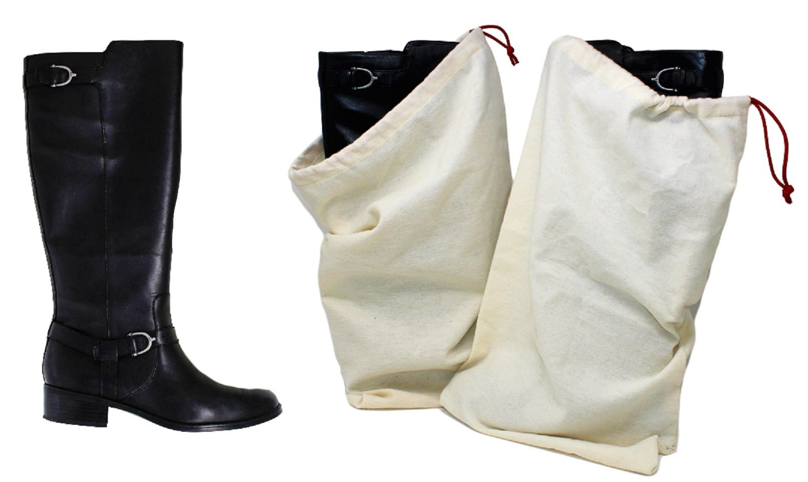 Earthwise Boot Shoe Bag 100% Cotton MADE IN THE USA with Drawstring for storing and protecting boots (Pack of 2)