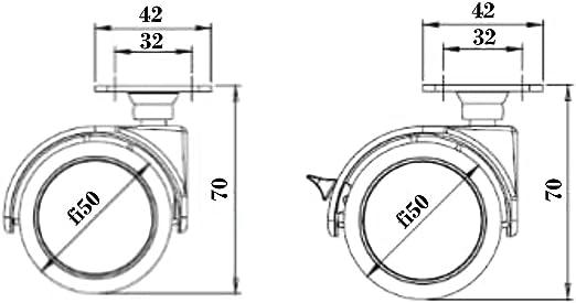 4 X Mprofi MT/® Universal Lenkrollen f/ür M/öbel Doppelrollen M/öbelrollen Gummirollen Laufrollen Bodenschutz Rollen /Ø50mm