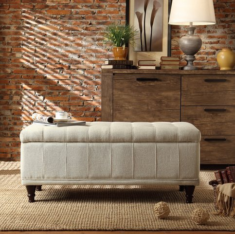 INSPIRE Q Rustic Sand Upholstered Tufted Storage Ottoman Ben
