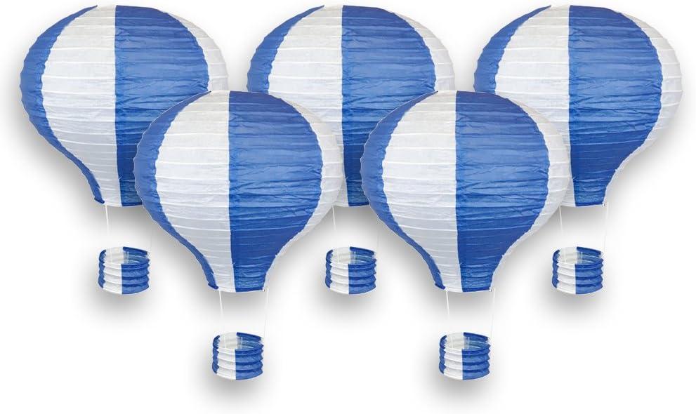 Just Artifacts Decorative 12-Inch Hot Air Balloon Paper Lanterns (5pcs, Royal Blue & White)