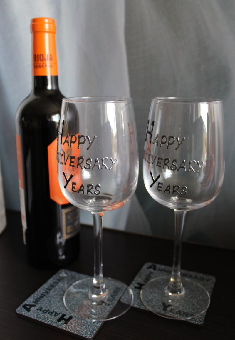 Dreamair 20th (China) Wedding Anniversary Wine Glasses & Coasters Blk/Sil Dreamair Ltd