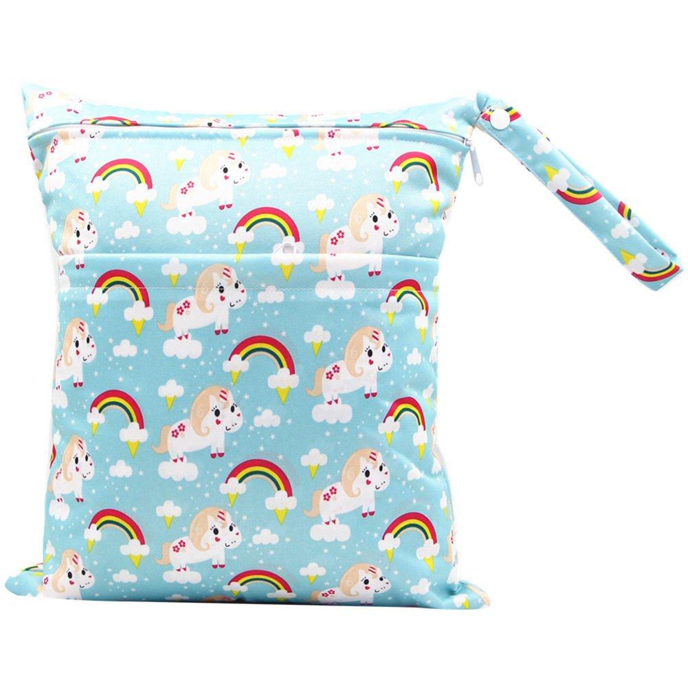 BOBORA Bolsa de Pa/ñales Reutilizable Bolsa con Cremallera Impermeable para mam/á Paquete de 2 Bear + Fox