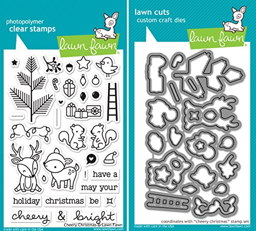 - Lawn Fawn Cheery Christmas Clear Stamp and Die Set - Includes One Stamp (LF1216) and Die (LF1217) Bundle 2 Items