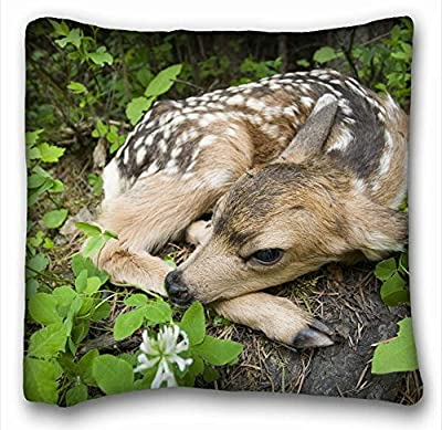 "Decorative Square Throw Pillow Case Animals fawn grass s lie down baby 18""*18"" Two Side"