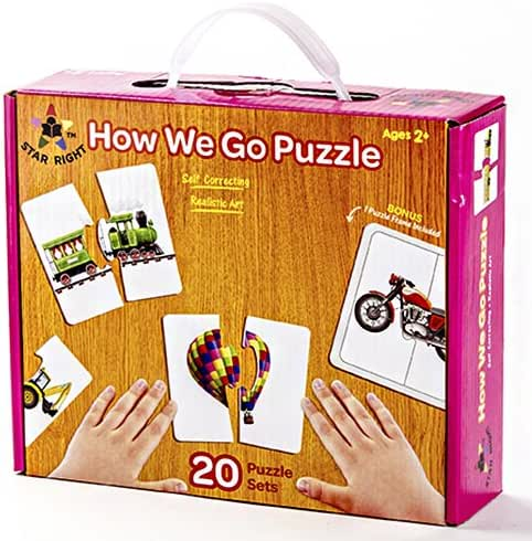 """Star Right Self-Correcting """"How We Go"""" Puzzle with Realistic Art to Set of 20 (40 pieces) with 1 Puzzle Frame Included"""