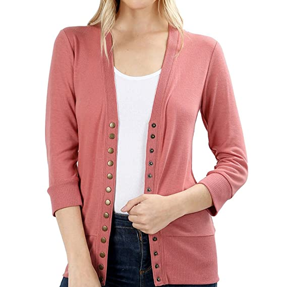 Women s Snap Button 3 4 Sleeve Sweater Cardigan with Ribbed Detail   Amazon.ca  Clothing   Accessories 43571376e