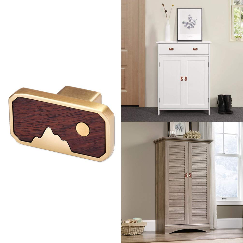 15 Packs Cabinet Knobs Pulls Wooden & Alloyed Finished Handles,Frylr Euro Style Vintage Drawer/Dresser/Wardrobe Knob Handle Gold & Walnut 1.8x1 Inch- Image Mountain & Moon for Decor Cupboard Bar Pull