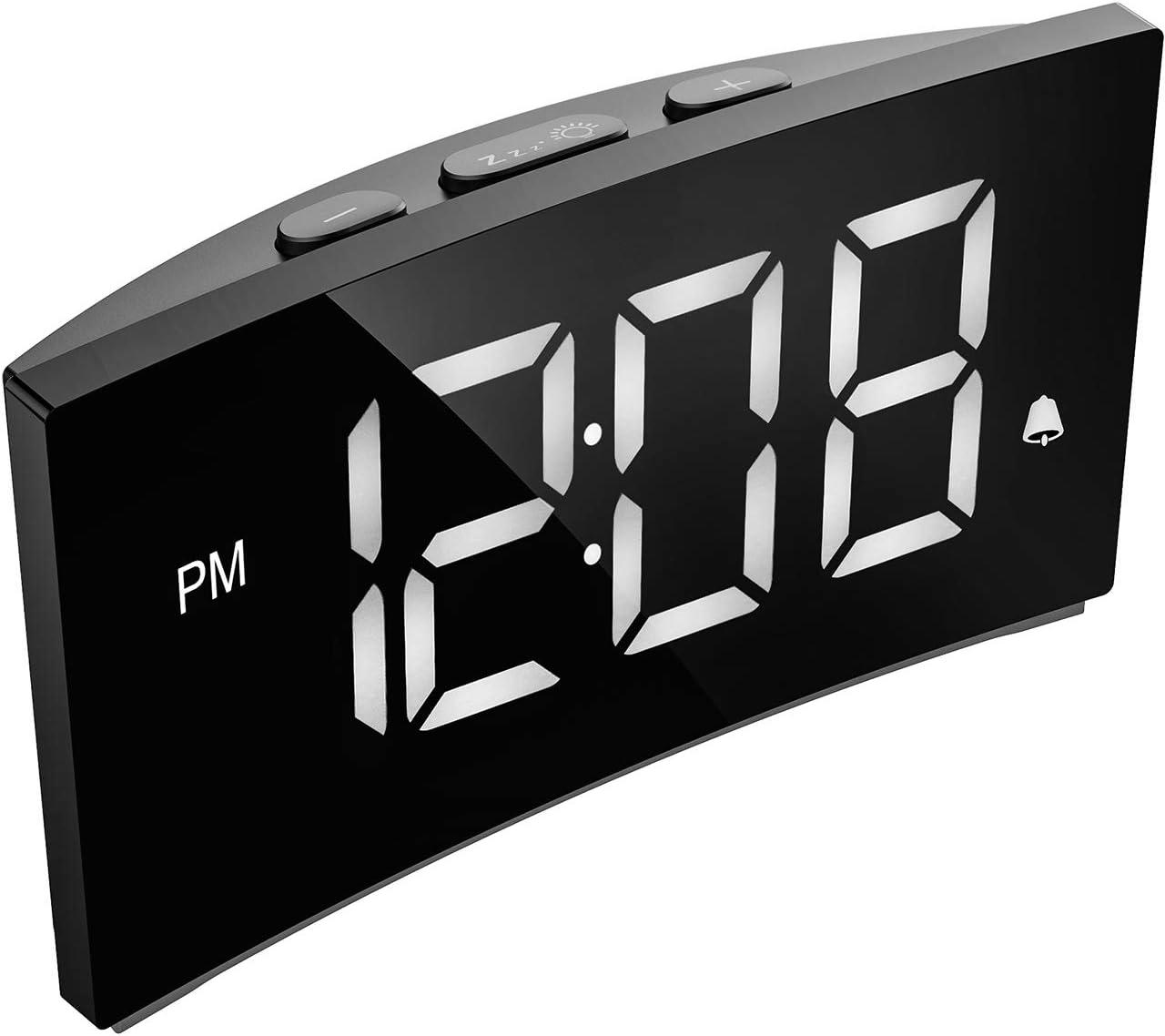 PICTEK Digital Alarm Clock, 5 Curved Dimmable LED Screen, Digital Clock for Kid Senior, Ultra-Clear White Large Number, 6 Brightness, Snooze, 12 24H, Alarm Clock for Bedroom Office NO Adapter