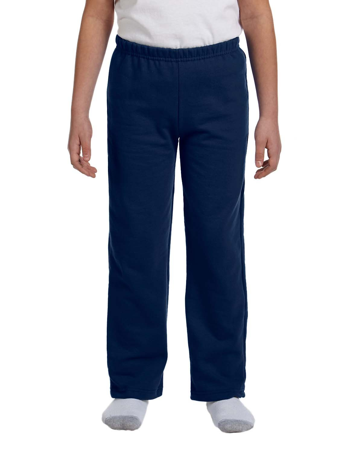 Gildan Boys 7.75 Oz. Heavy Blend 50/50 Sweatpants (G184B) -Navy -M-12PK