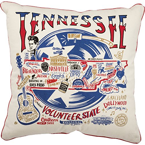 Primitives by Kathy Home State Tennessee Cotton Decorative Throw Pillow, 20-Inch Square State Throw Pillow