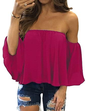 5f63f867a6c7 SHFZ Women s Off Shoulder Tops Summer Short Sleeve Chiffon Blouse Shirt  Crop Top (Small