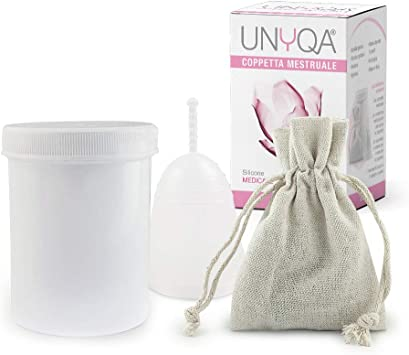 Unyqa Copa menstrual   Fabricado en Italia   Silicona médica certificada   (Media)