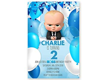 Set Of 10 Personalized Birthday Invitaton Cards The Boss Baby With Blue Balloon Pattern Digital Download