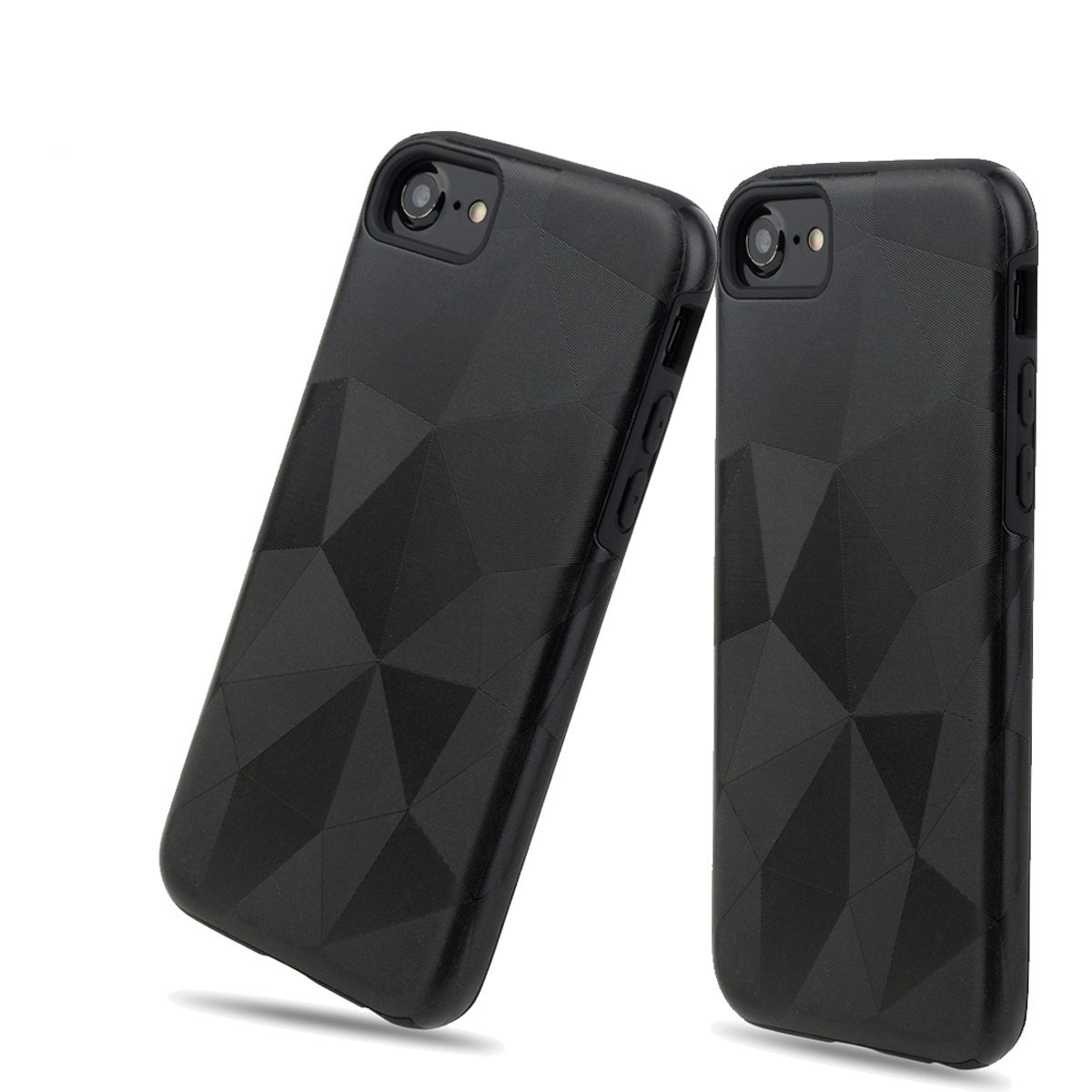 For iPhone 8 Plus Case,iPhone 7 Plus Business Luxury Rhombus case- 2 layers 2in1 Back Cover - Geometric Patterns - TPU soft + PC Hard - Shockproof Armor (Black, Iphone 6Plus/ 7Pluse/ 8Plus)