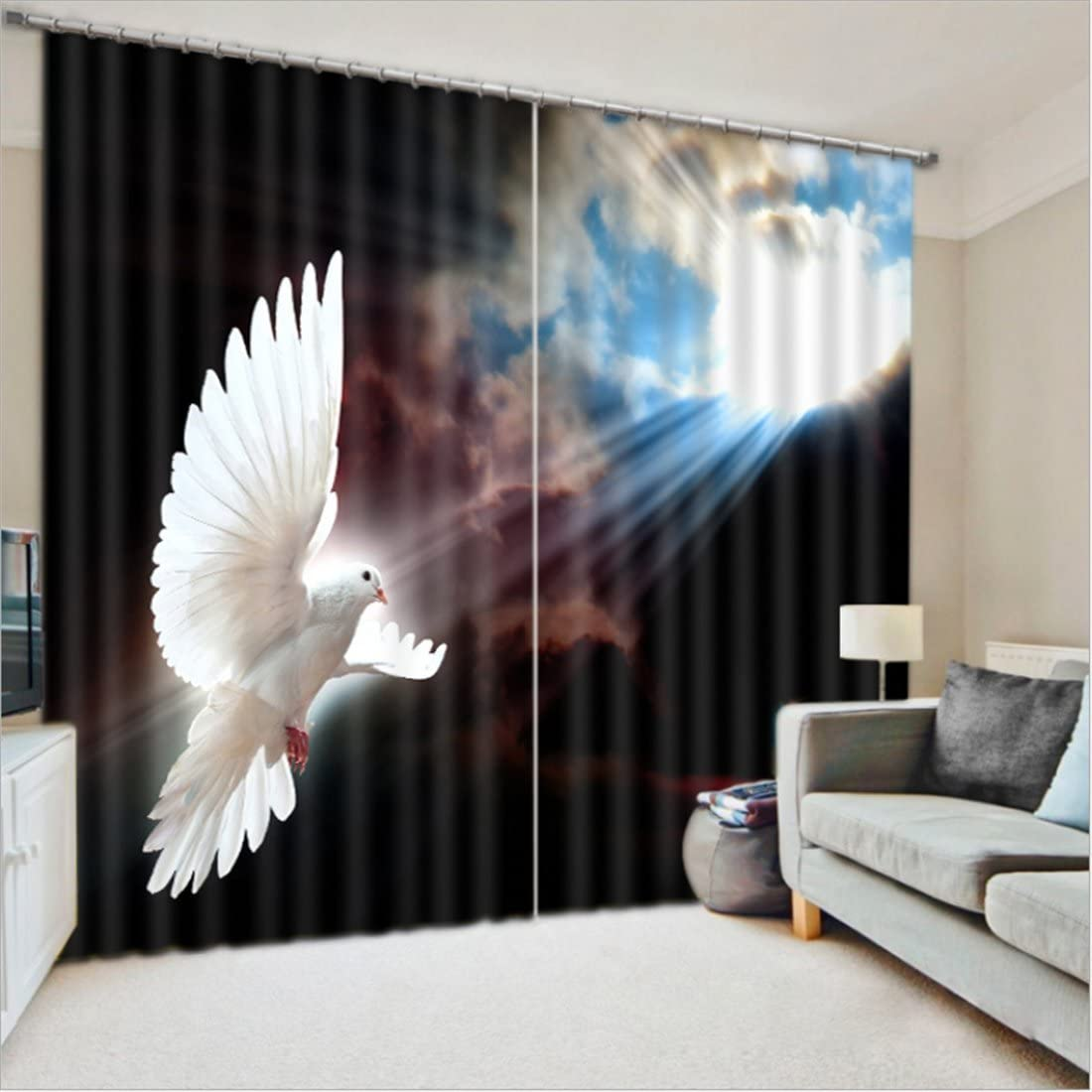 LB Room Darkening Thermal Insulated Blackout Curtains for Bedroom Living Room,The Dancing Dove of Peace 2 Panels Noise Reducing Window Treatment 3D Window Drapes,56 Inch Width by 65 Inch Length