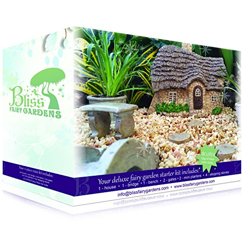 Set Fairy Garden (Deluxe Fairy Garden Starter Kit | Multi-Piece, Durable, Hand-Crafted Collection | English Cottage)