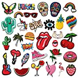 Czorange 32pcs Embroidered Patch Sew On/Iron On Patches Applique Accessories Assorted Size Decoration Patches for DIY Jeans Jacket Clothing Handbag Shoes Caps