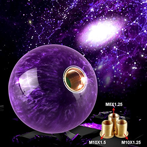 (Ruien Marble Style Round Ball Gear Shift Knob with Adapters fit for Manual and Most Automatic 5-Speed 6-Speed Cars, Purple)