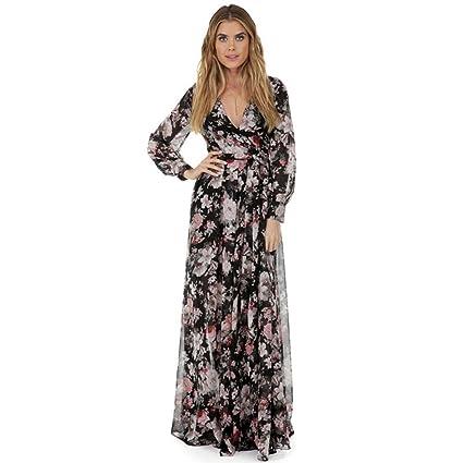 1359729eb20 Robe en mousseline pour Femmes Manche longue Mousseline de soie Floral Long  impression Robe de soirée