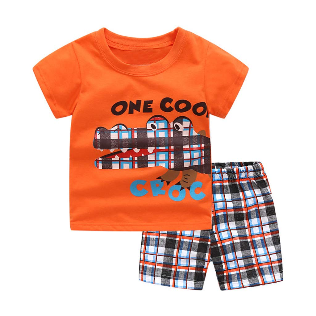 Toddler Kids Baby Boys Cartoon Dinosaur Crocodile Tee Shirt with Roar ONE//Cool Print Grid Shorts Outfits Clothing Set 1-7Y