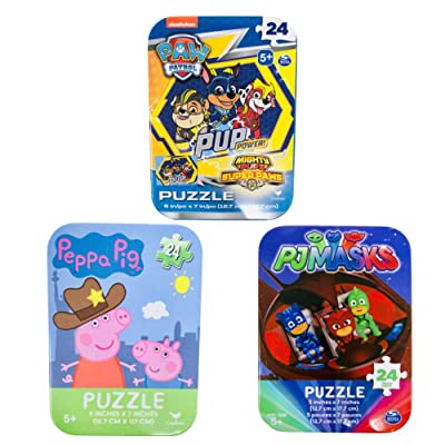 3 Collectible Girls/Boys Mini Jigsaw Puzzles in Travel Tin Cases: Paw Patrol, Peppa Pig, PJ Masks Bundle (24 Pieces Each): Toys & Games