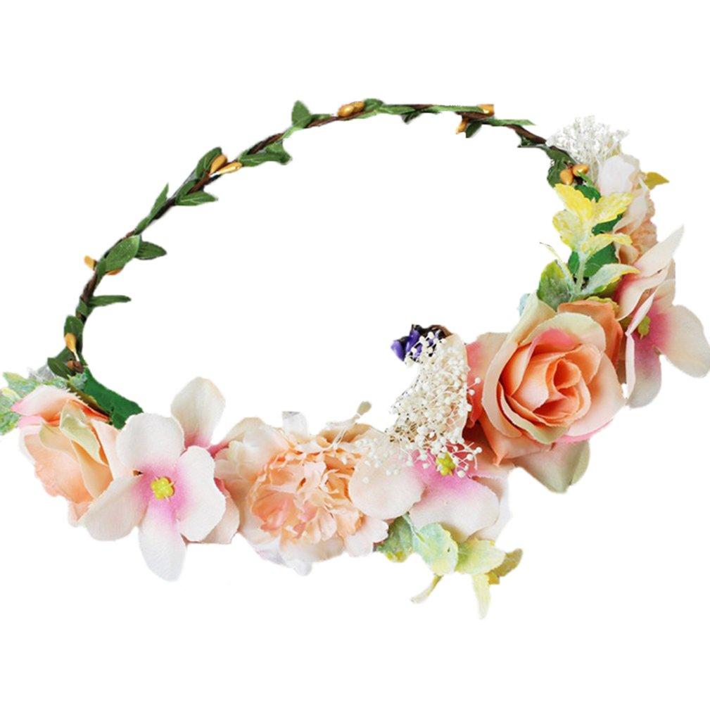Vivivalue Handmade Boho Flower Wreath Headband Halo Floral Hair Garland Crown Headpiece with Ribbon Festival Wedding Orange